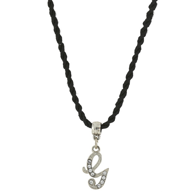 Black Cord Silver Tone Crystal Initial Necklaces G