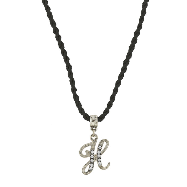Black Cord Silver Tone Crystal Initial Necklaces H