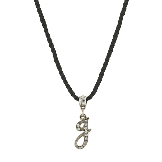 Black Cord Silver Tone Crystal Initial Necklaces J