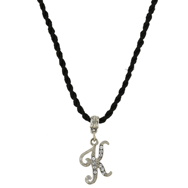 Black Cord Silver Tone Crystal Initial Necklaces K