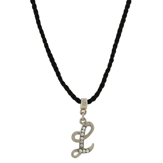 Black Cord Silver Tone Crystal Initial Necklaces L