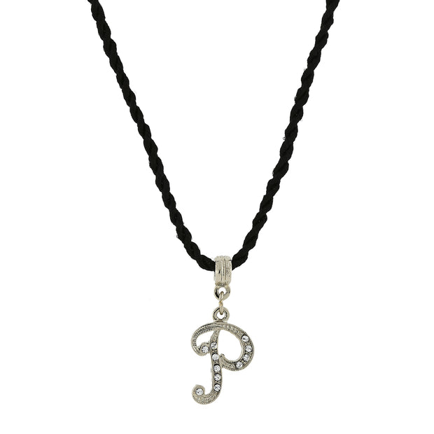 Black Cord Silver Tone Crystal Initial Necklaces P