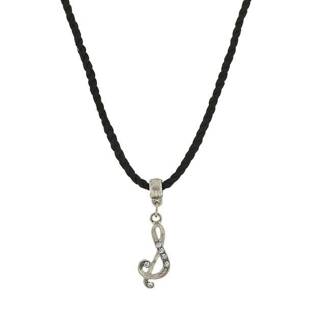 Black Cord Silver Tone Crystal Initial Necklaces S