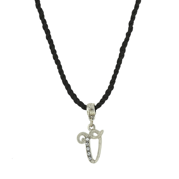 Black Cord Silver Tone Crystal Initial Necklaces V