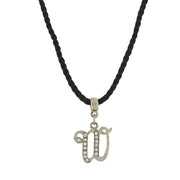 Black Cord Silver Tone Crystal Initial Necklaces W