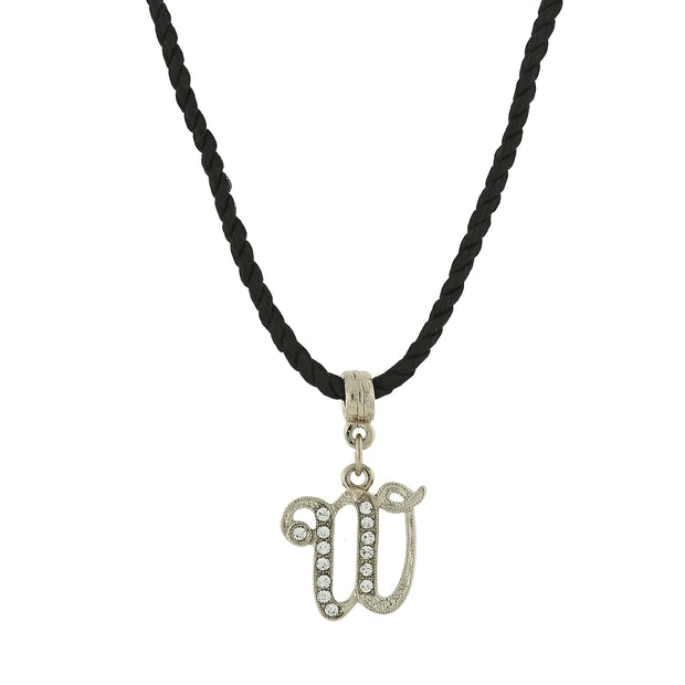 Black Cord Silver-Tone Crystal Initial Necklaces W