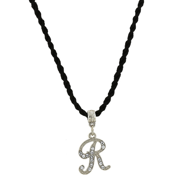 Black Cord Silver Tone Crystal Initial Necklaces R