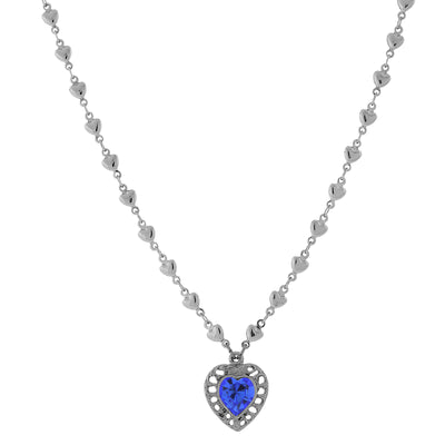 Silver Sapphire Genuine Swarovski Crystal Heart Pendant Necklace 16 In Adj