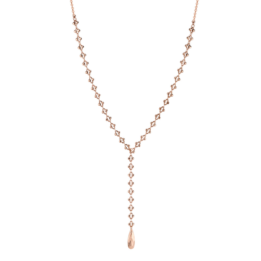 Rose Gold Tone Chain Y Neck 13.5 Adj
