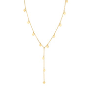 14K Gold Dipped Chain Y Necklace 13.5 In Adj