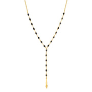14K Gold Dipped Black Oval Y Necklace  13.5 In Adj