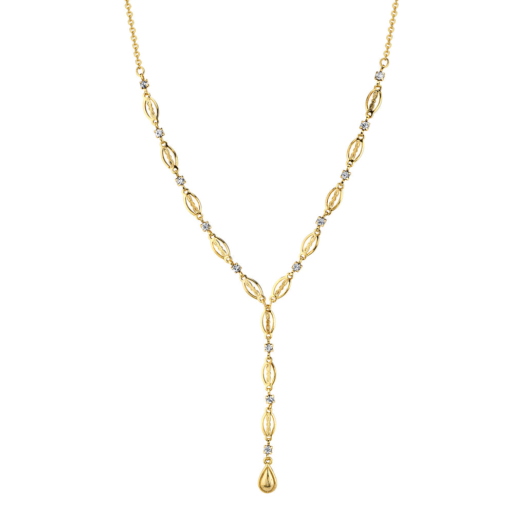 14k Gold Dipped Crystal Y Necklace 13.5 Adj