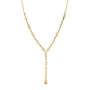 14K Crystal Y Necklace 13.5 In Adj