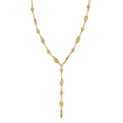 14K Gold Dipped Crystal Y Necklace 13.5 In Adj