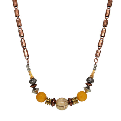 Copper Genuine River Stone Yellow Quartz Beaded Chain Necklace 16 - 19 Inch Adjustable