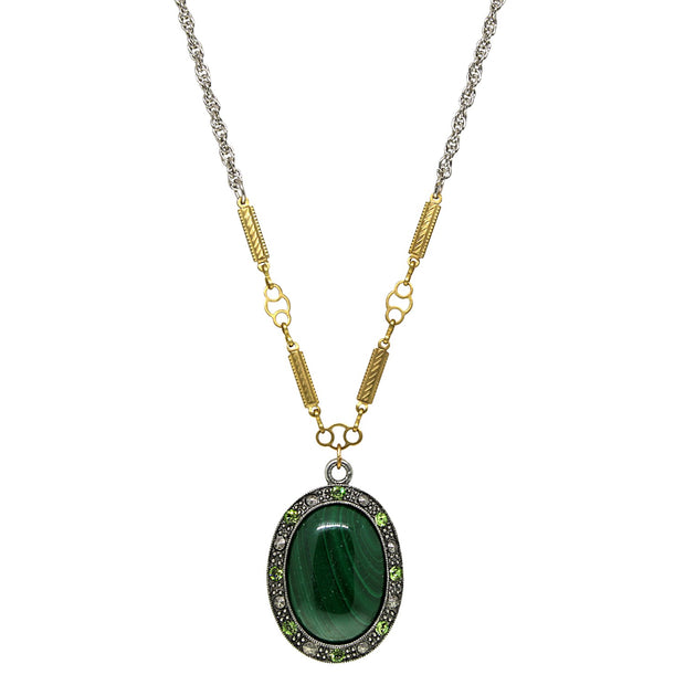 Silver Tone Genuine Stone Oval Necklace 16 Inch Malachite