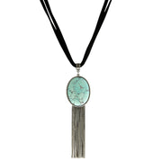 Genuine Howlite Dyed Turq. Oval Silver Tone Tassel Leather Necklace 16 Inch