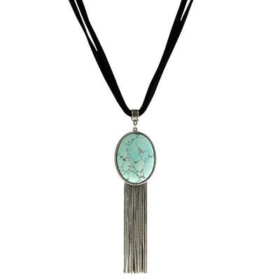 Genuine Howlite Dyed Turq. Oval Silver Tone Tassel Leather Necklace 16 In