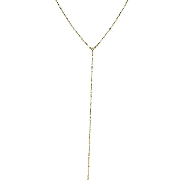 14K Gold Dipped Chain Y Necklace 16 - 19 Inch Adjustable