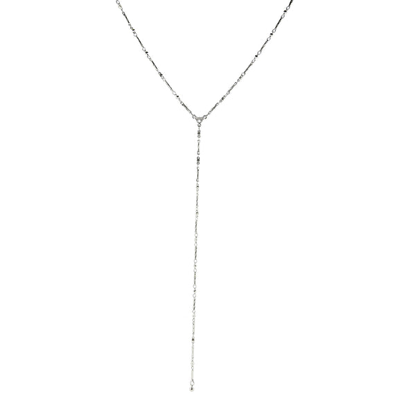 Silver Tone Chain Y Necklace 16 Adjustable