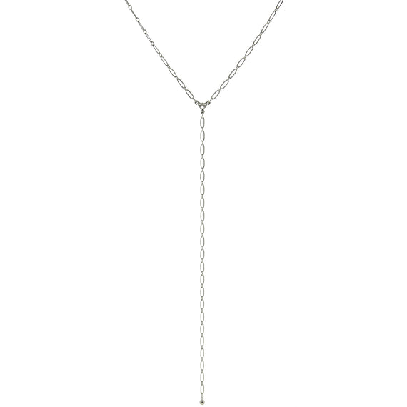 Thin Silver Tone Chain Y Necklace 16