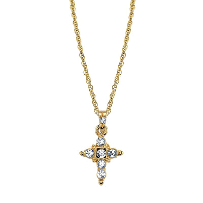 14K Gold Tone Crystal Cross Pendant Necklace 16 - 19 Inch Adjustable