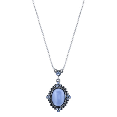 Pewter Tone Lt. Blue Moonstone Pendant Necklace 16 In Adj