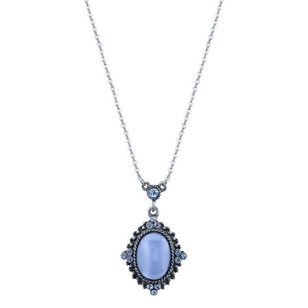 Pewter Tone Lt. Blue Moonstone Pendant Necklace 16 - 19 Inch Adjustable