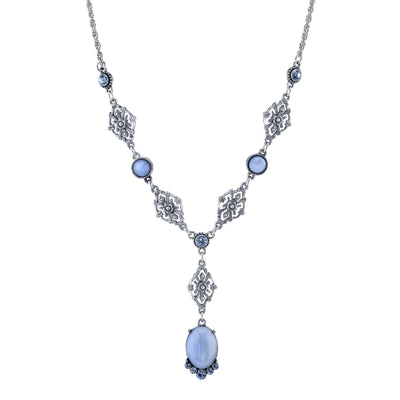 Pewter Tone Lt. Blue Moonstone And Crystal Accent Filigree Y Necklace 16   19 Inch Adjustable