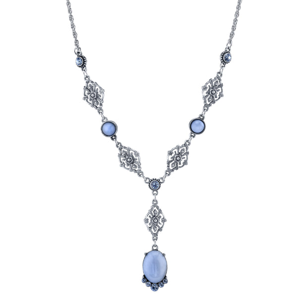 Pewter Tone Lt. Blue Moonstone and Crystal Accent Filigree Y-Necklace 16 In Adj