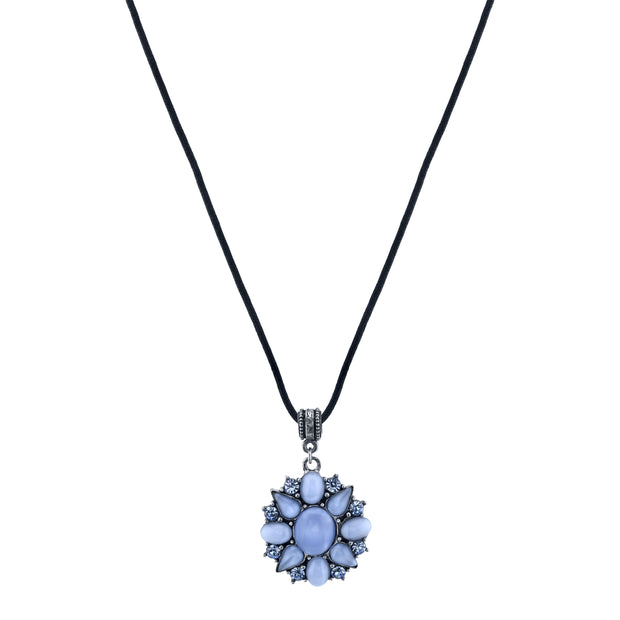 Pewter Tone Lt. Blue Moonstone And Crystal Pendant Necklace 16 - 19 Inch Adjustable