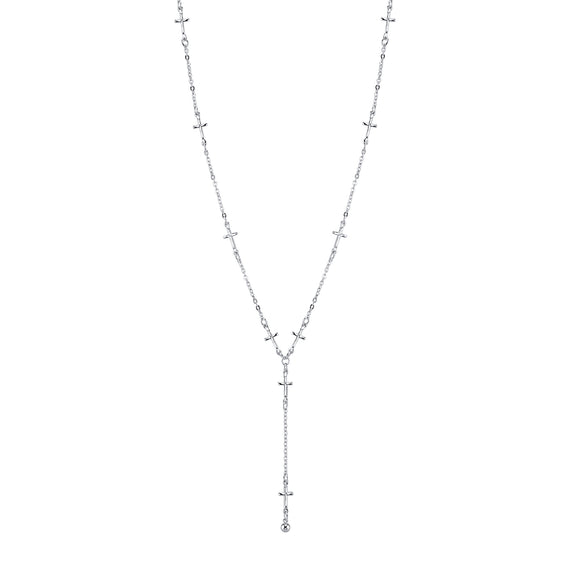 Silver Tone Cross Chain Y Necklace 15 Adjustable