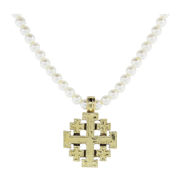 14K Gold Dipped Costume Pearl Jeruselum Cross Pendant Necklace 16 - 19 Inch Adjustable