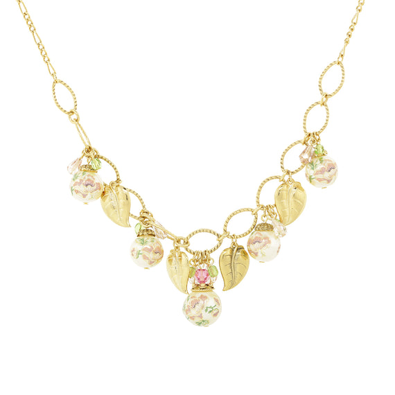 Gold Tone Flower Decal Pearl with Gold Leaf Necklace 16  Adjustable