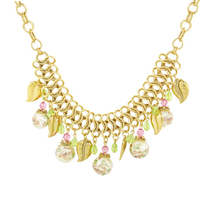 Gold Tone Flower Decal Costume Pearl Leaf Beaded Necklace 16 In Adj