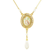 Gold Tone Oval Flower Decal Costume Pearl With Pearl Teardrop Necklace 16   19 Inch Adjustable
