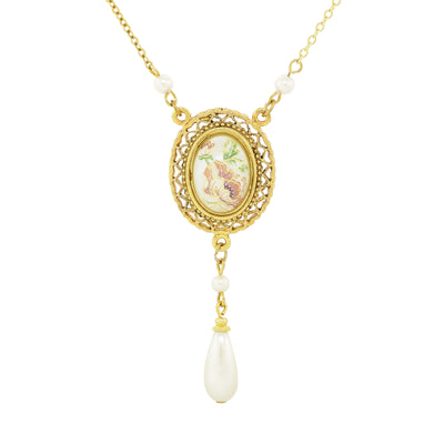Gold Tone Oval Flower Decal Costume Pearl With Pearl Teardrop Necklace 16 - 19 Inch Adjustable
