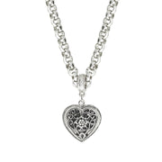 Filigree Heart Necklace 16   19 Inch Adjustable