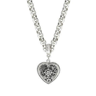 Filigree Heart Pendant Necklace 16 Adj.