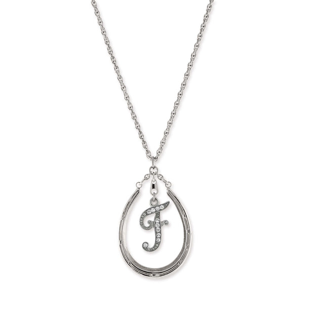 Pewter Horseshoe Crystal Initial Necklace F