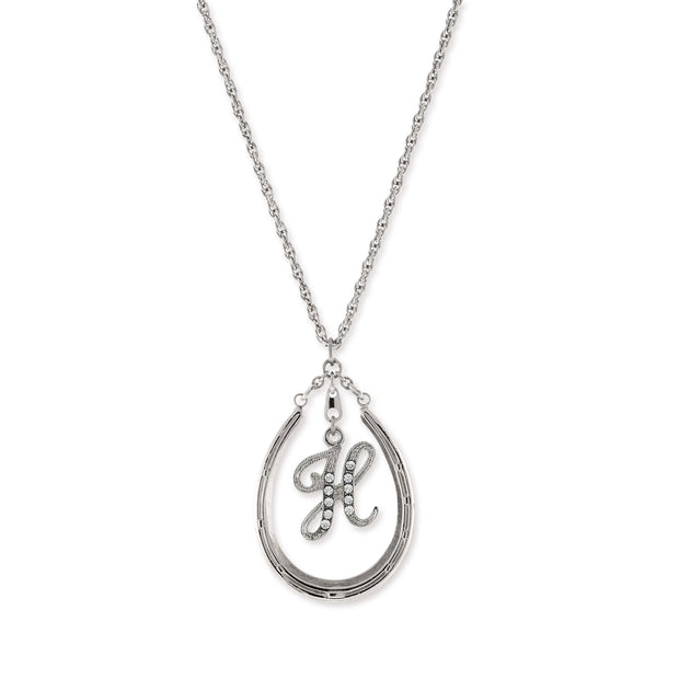 Pewter Horseshoe Crystal Initial Necklace H