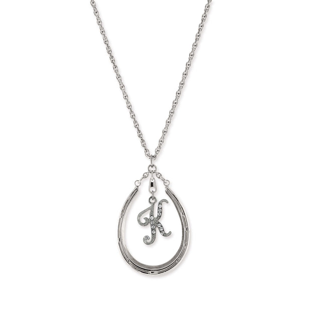 Pewter Horseshoe Crystal Initial Necklace K