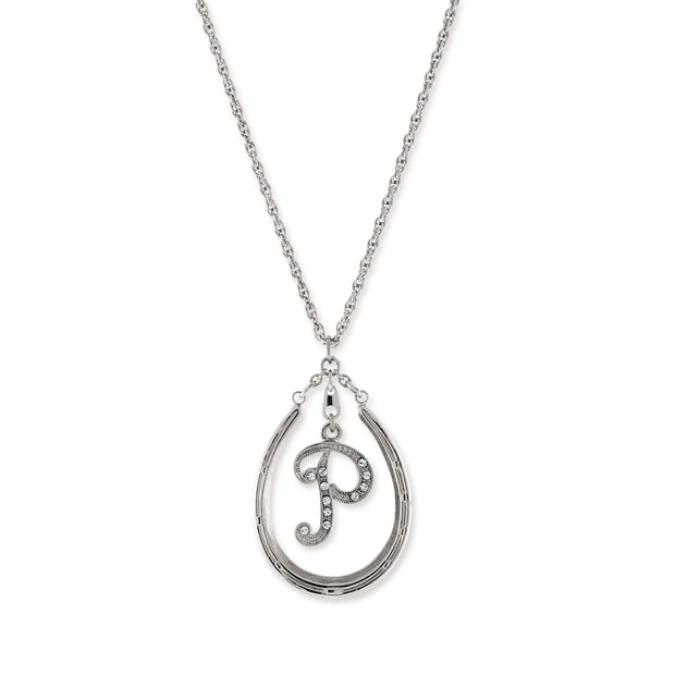Pewter Horseshoe Crystal Initial Necklace P