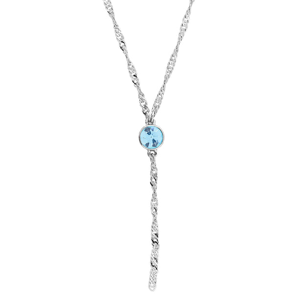 Silver Tone Round Crystal Y Necklace Chain 16   19 Inch Adjustable Light Blue