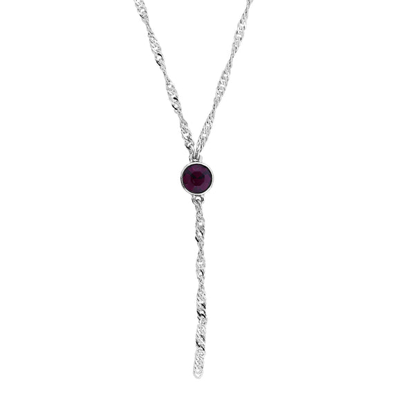 Silver Tone Purple Crystal Y Necklace Chain 16  Adjustable