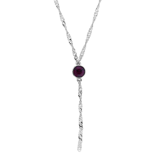 Silver Tone Round Crystal Y Necklace Chain 16 - 19 Inch Adjustable Purple