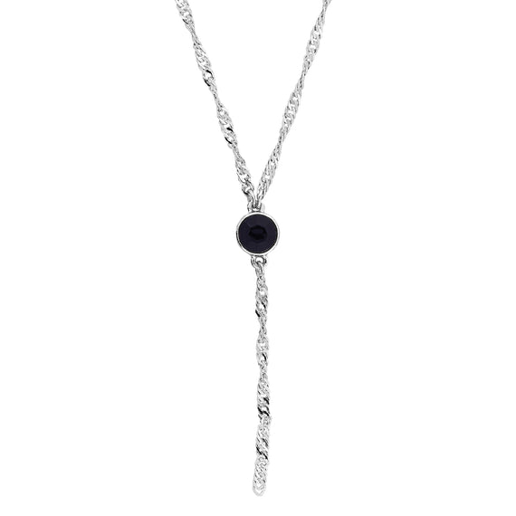 Silver Tone Black Crystal Y Necklace Chain 16  Adjustable
