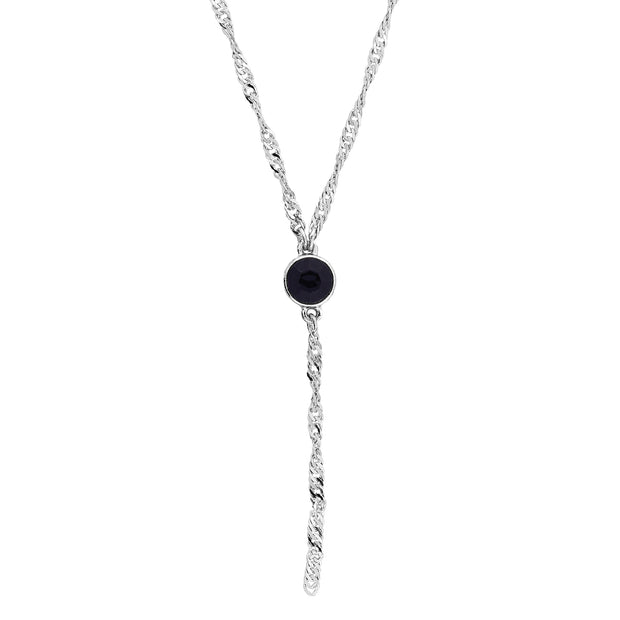Silver Tone Round Crystal Y Necklace Chain 16 - 19 Inch Adjustable Black
