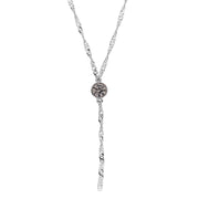 Silver Tone Round Crystal Y Necklace Chain 16   19 Inch Adjustable Light Black