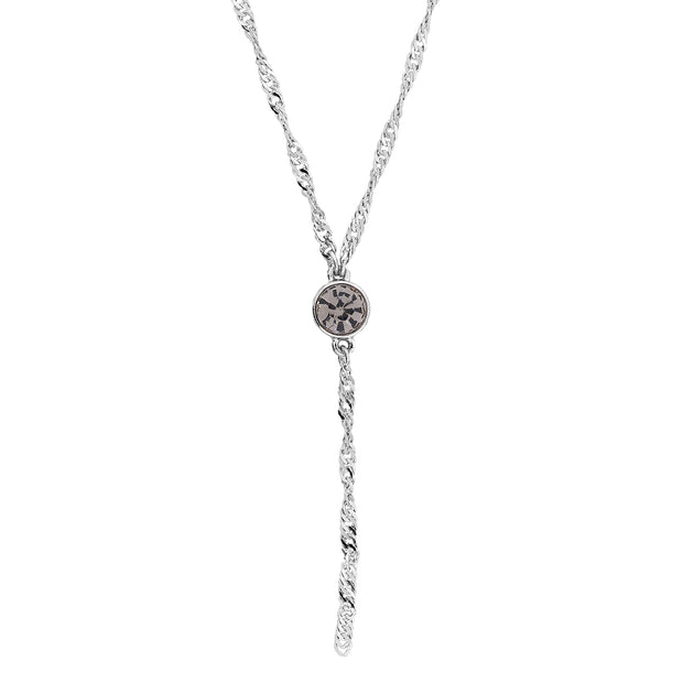 1928 Jewelry Silver Tone Round Crystal Y Necklace Chain 16 In Adj
